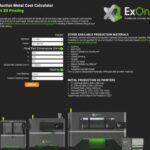 ExOne lance un calculateur en ligne pour les fabricants afin de comparer rapidement le coût de l'impression 3D sur métal pour la production